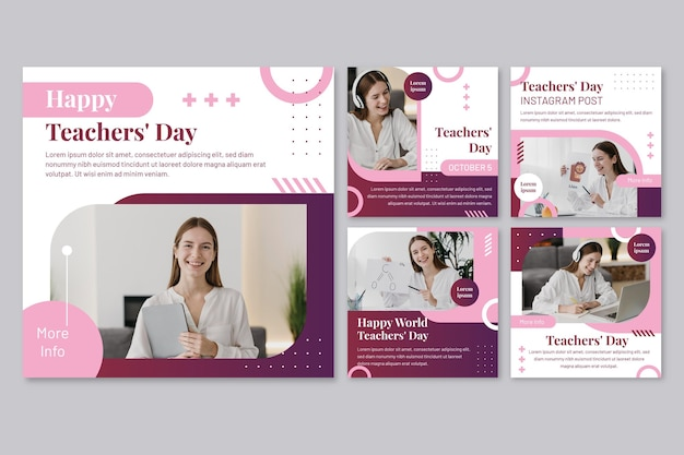 Flat teachers' day instagram posts collection with photo