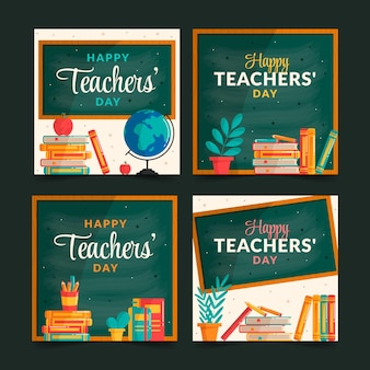 Flat teachers' day instagram posts collection