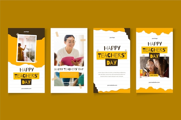 Flat teachers' day instagram stories collection with photo