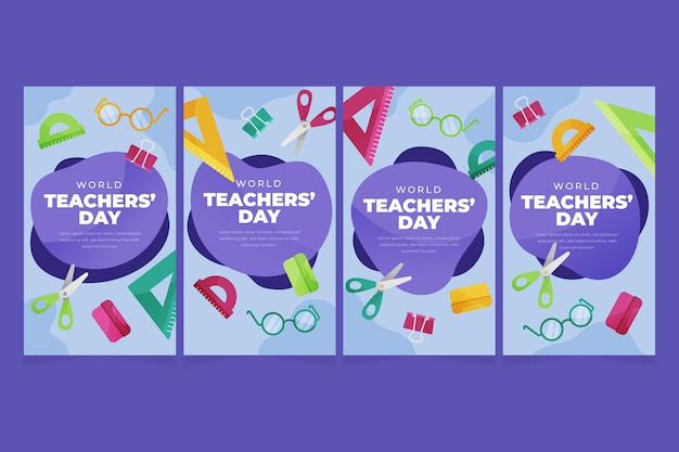 Flat teachers' day instagram stories collection