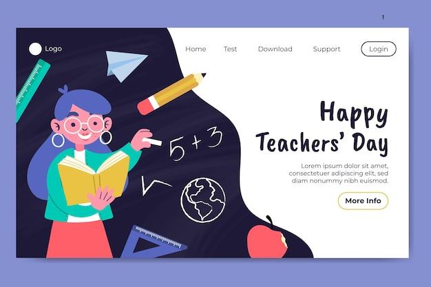 Modello di pagina di destinazione del giorno degli insegnanti piatto