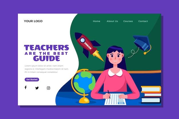Flat teachers' day landing page template