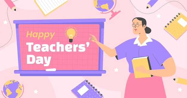 Modello di post sui social media per la giornata degli insegnanti piatti