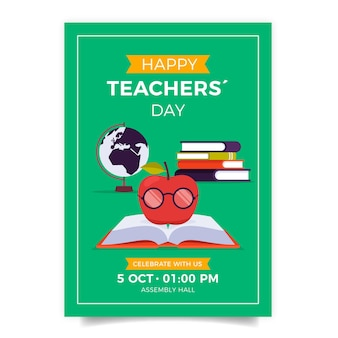 Плоский шаблон вертикального флаера дня учителя