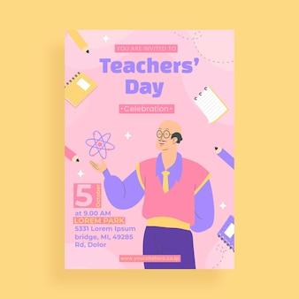 Modello di volantino verticale per il giorno degli insegnanti piatto
