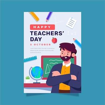 Modello di poster verticale piatto per la giornata degli insegnanti