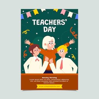 Flat teachers' day vertical poster template