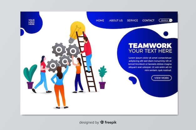 Flat teamwork landing page template