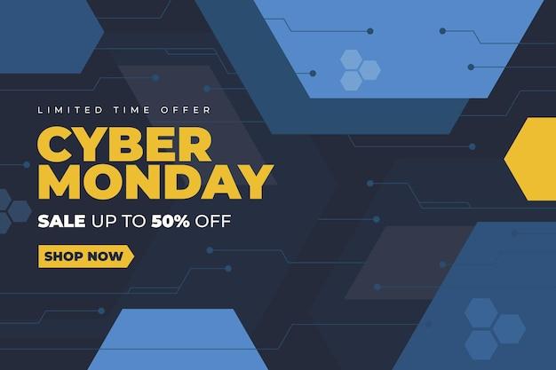Fondo di cyber lunedì di tecnologia piatta