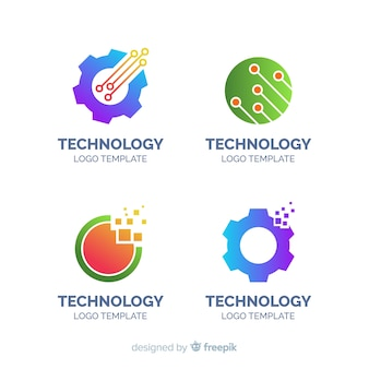 Flat technology logo collection