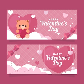 Flat teddy bear valentine's day banners