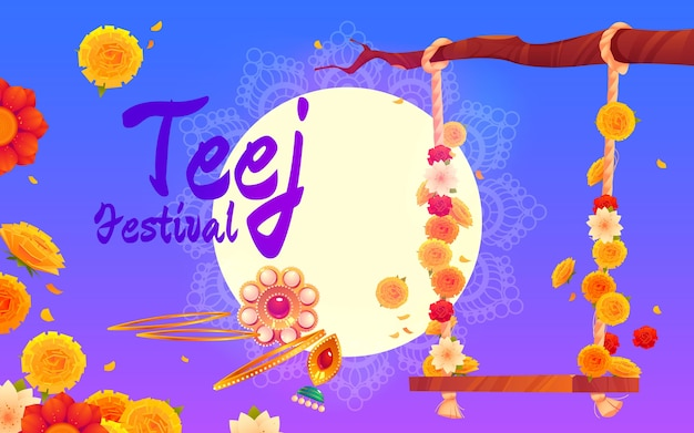 Flat teej festival horizontal banner template