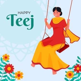 Плоская иллюстрация фестиваля teej