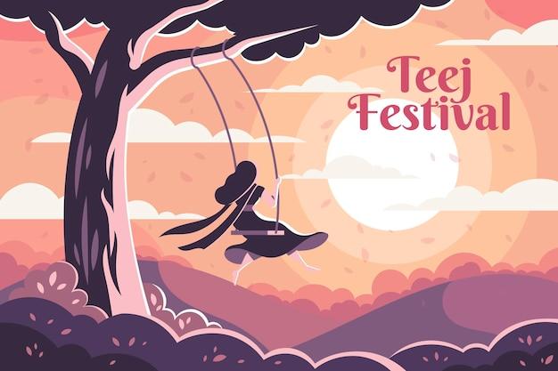 Flat teej festival illustration