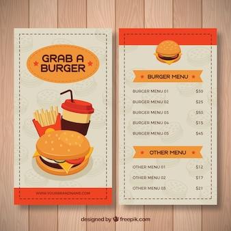 Flat template of fast food menu
