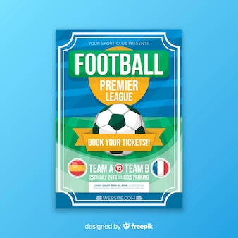 Flat template of football poster