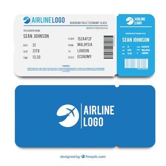 青色の搭乗券のフラットテンプレート