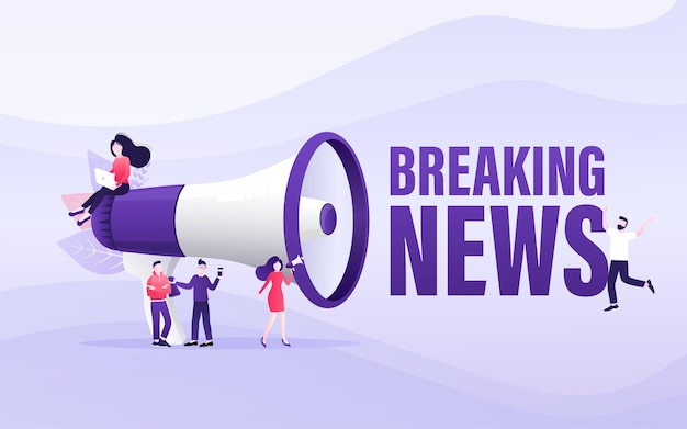 Flat template with megaphone people breaking news for flyer design breaking news concept