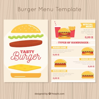 Flat template with tasty burger menus