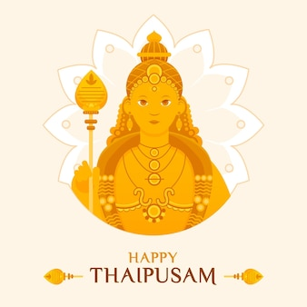 Flat thaipusam festival with greeting