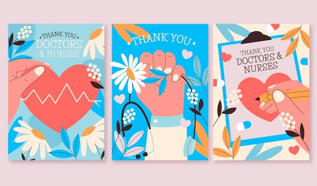 Плоский набор открыток с благодарностью врачам и медсестрам Premium векторы