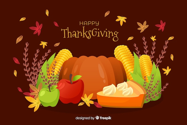 Flat thanksgiving background with delicious veggies
