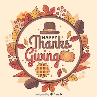 Flat thanksgiving background with dried leaves in a circle
