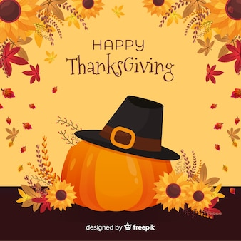 Flat thanksgiving background with pumpkin and hat