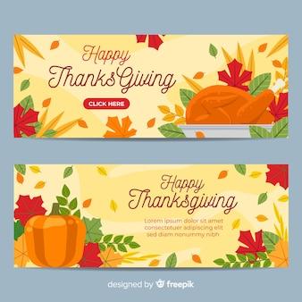 Flat thanksgiving banner set