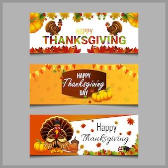 Набор плоских баннеров благодарения