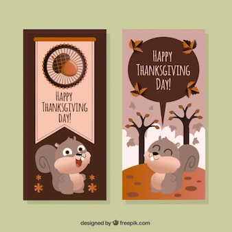 Flat thanksgiving banners with a cute squirrel