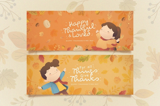 Flat thanksgiving banners