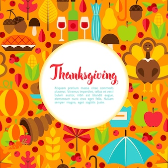 Flat thanksgiving day greeting. vector illustration of fall holiday template.