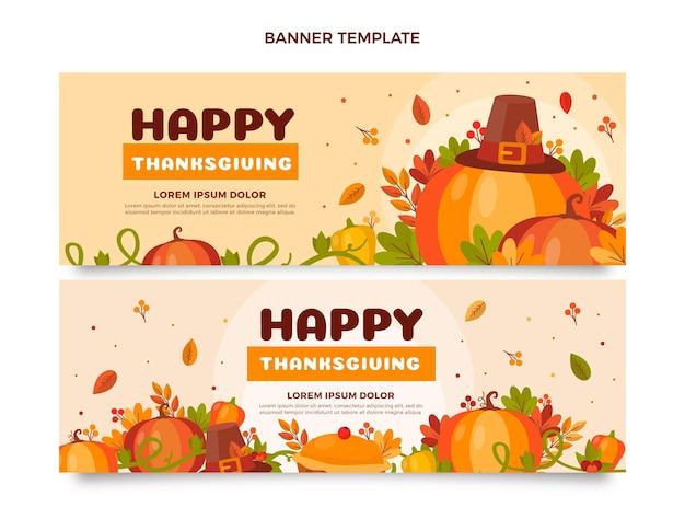 Flat thanksgiving horizontal banners set