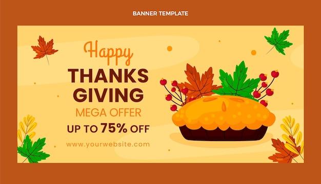 Плоский баннер горизонтальной продажи благодарения