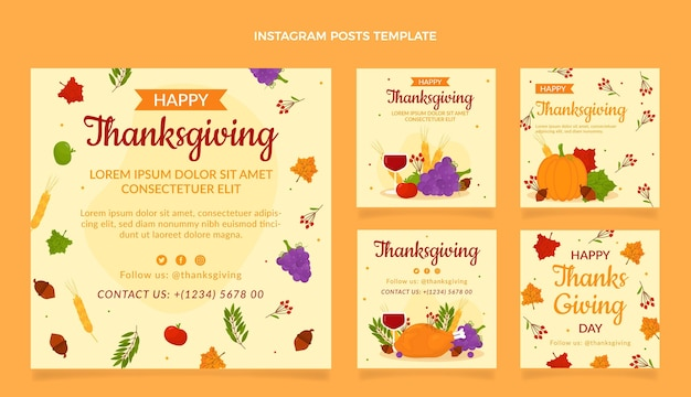 Flat thanksgiving instagram posts collection