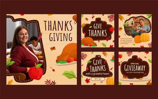 Raccolta di post di instagram di ringraziamento piatto