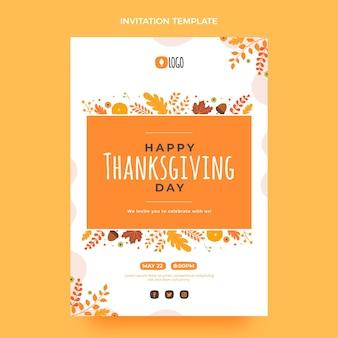 Плоский шаблон приглашения на день благодарения