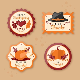 Flat thanksgiving label collection
