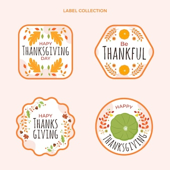 Flat thanksgiving labels collection