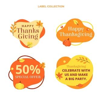 Collezione di etichette piatte del ringraziamento