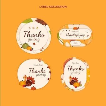 평면 추수 감사절 labes 컬렉션