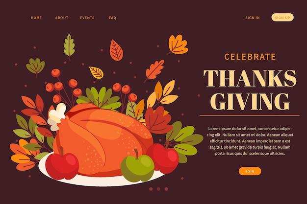 Modello di pagina di destinazione del ringraziamento piatto