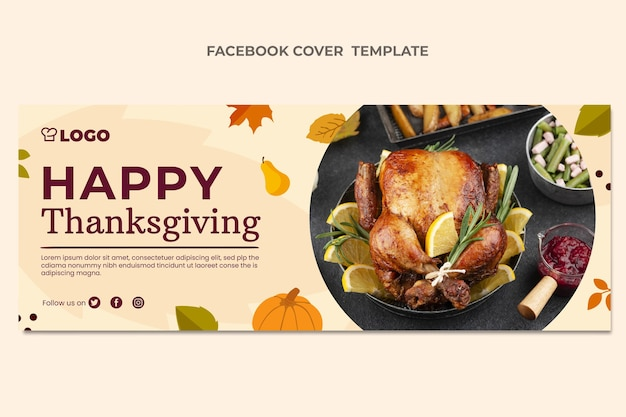 Flat thanksgiving social media cover template