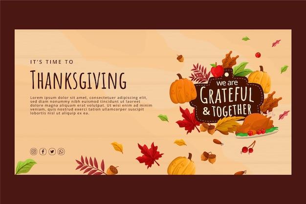 フラット感謝祭ソーシャルメディア投稿テンプレート