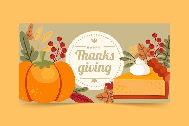 Плоский шаблон сообщения в социальных сетях на день благодарения
