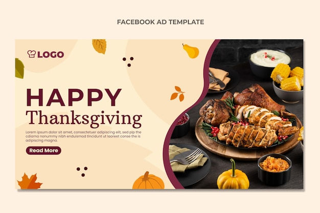 Flat thanksgiving social media promo template