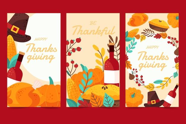 Collezione di banner verticali piatti del ringraziamento