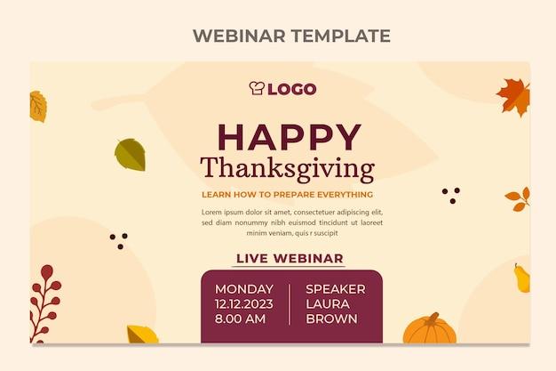 Modello di webinar piatto del ringraziamento