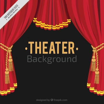 Flat theater background with red curtains
